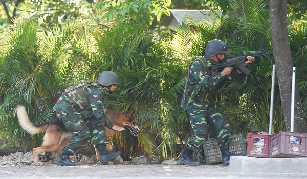 Lực lượng đặc nhiệm chống khủng bố của Việt Nam sử dụng chó nghiệp vụ, đột kích vào tòa nhà đang bị chiếm giữ.