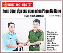 Hành động đẹp của quân nhân Phạm Bá Hùng