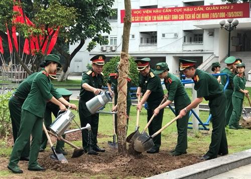 Học viện Hậu cần trồng cây tưởng nhớ Chủ tịch Hồ Chí Minh