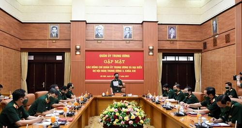 Gặp mặt các đồng chí Quân ủy Trung ương và đại biểu dự Hội nghị Trung ương 3, khóa XIII