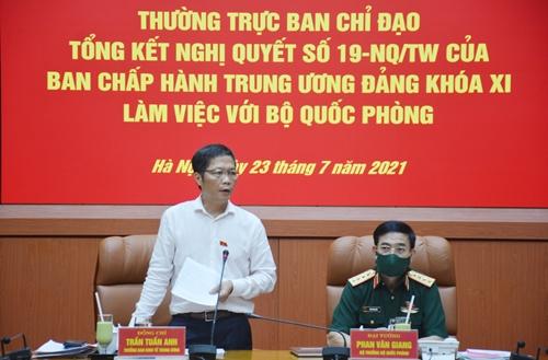 Thường trực Ban chỉ đạo Tổng kết Nghị quyết số 19-NQ/TW làm việc với Bộ Quốc phòng
