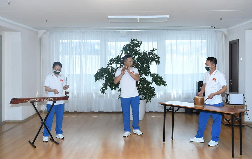 Đội tuyển luyện tập các tiết mục sẽ thi đấu tại Army Games năm nay. Đây cũng là lần đầu tiên nội dung Văn hóa - Nghệ thuật được Ban tổ chức Army Games đưa vào thành một môn thi đấu.