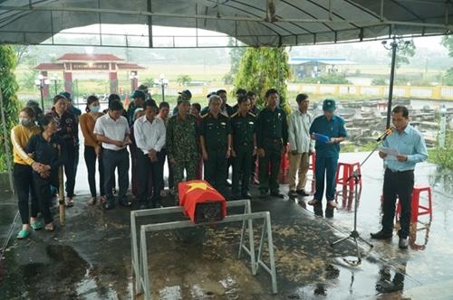 Liệt sĩ Trịnh Văn Hòa an táng tại Nghĩa trang Liệt sĩ Quốc gia Trường Sơn