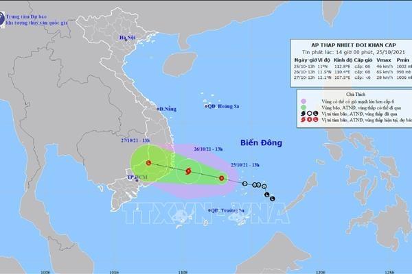 Áp thấp nhiệt đới cách Khánh Hòa – Ninh Thuận 140km