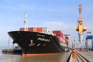 海防港口成功迎来马士基航运公司的三艘集装箱船舶