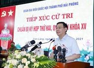 越南国会主席王廷惠与海防市先朗县选民接触